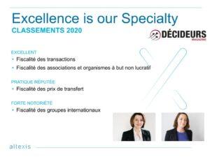 Das Magazin Décideurs hat im Ranking 2020 Altexis in 4 Kategorien ausgezeichnet.