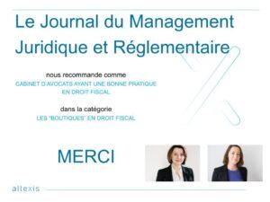 Altexis als eine der besten Boutique-Steuerkanzleien vom Journal du Management Juridique & Réglementaire ernannt